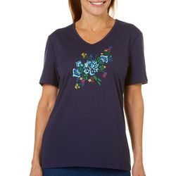 Coral Bay Womens Embroidered Floral Bouquet Top