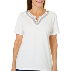 Coral Bay Womens Boho Embroidered Notch Neck Top