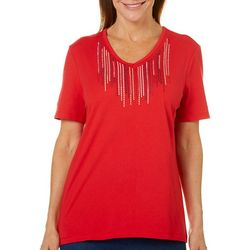 Coral Bay Womens Embroidered Bib Top