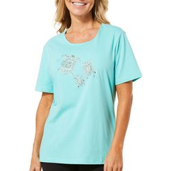 Coral Bay Womens Sea Turtle Rhinestone Top