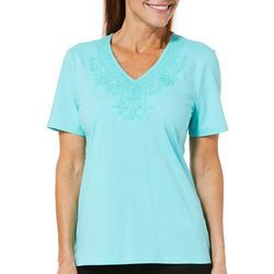 Coral Bay Womens True Colors Embroidered V-Neck Top