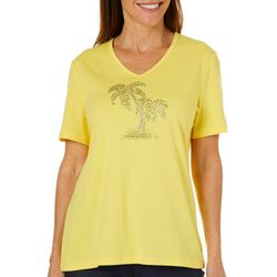 Coral Bay Womens Jeweled Palm Tree Pair Top