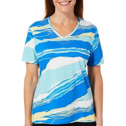 Coral Bay Womens Embellished Torn Stripe V-Neck Top