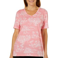 Coral Bay Womens Island Print Short Sleeve Top