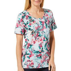 Coral Bay Womens Medina Tropical Floral Short Sleeve Top