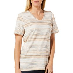 Coral Bay Womens Staycation Striped Short Sleeve Top