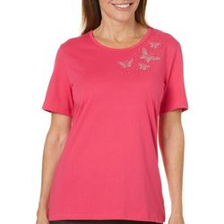 Coral Bay Womens Embellished Butterfly Top
