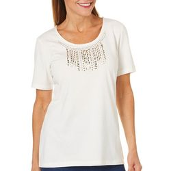 Coral Bay Womens Embellished Bib Top