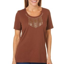 Coral Bay Womens Solid Embellished Short Sleeve Top