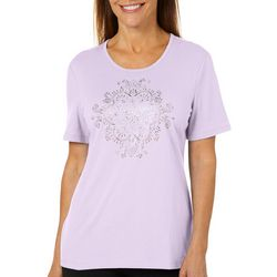 Coral Bay Womens Solid Embellished Medallion Top