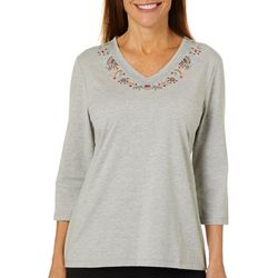 Coral Bay Womens Solid Embroidered Neckline Top