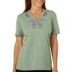 Coral Bay Womens Embroidered Solid Henley Top