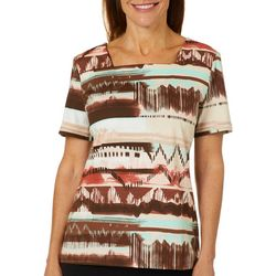 Coral Bay Womens Mixed Stripe Print Square Neck Top