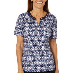 Coral Bay Womens Fan Biadere Print Short Sleeve Top