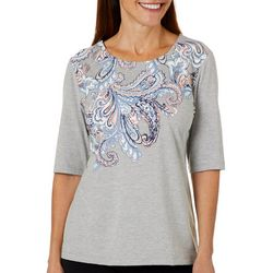Coral Bay Womens Solid Paisley Screen Print Top