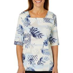 Coral Bay Womens Mixed Tropical Palm Print Square Neck Top