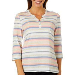 Coral Bay Womens Heathered Stripe Henly Elbow Sleeve Top