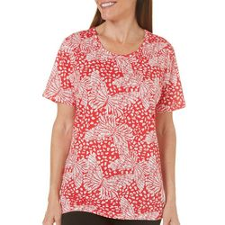 Coral Bay Womens Ocean Drive Butterfly Printed Top