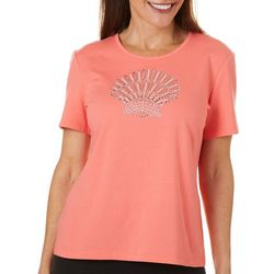 Coral Bay Womens Embellished Shell Short Sleeve Top