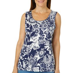 Coral Bay Womens Whimsical Floral Print Sleeveless Top