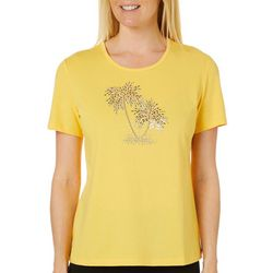 Coral Bay Womens Jeweled Palm Tree Round Neck