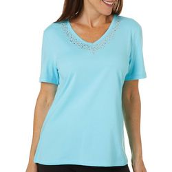 Coral Bay Womens Solid Cascade Jeweled Neck Short Sleeve Top