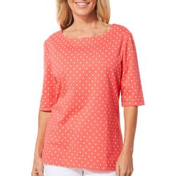 Coral Bay Womens Polka Dot Scalloped Neck Top
