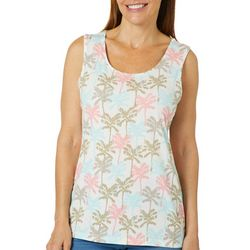 Coral Bay Womens Tropical Palm Tree Sleeveless Top