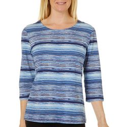 Coral Bay Womens Scratched Stripes Round Neck Top