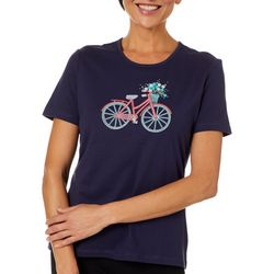 Coral Bay Womens Jeweled Embroidered Bicycle Top