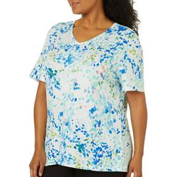 Coral Bay Womens Embellished Brush Strokes Short Sleeve Top