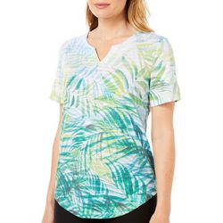 Coral Bay Womens Tropical Palm Leaf Short Sleeve Top