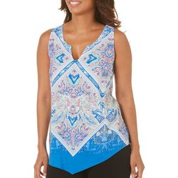 Coral Bay Womens Bandana Print Sleeveless Top