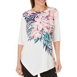 Coral Bay Womens Floral Print Asymmetrical Hem Top