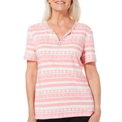 Coral Bay Womens Coastal Striped Jewel Neck Top