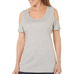Coral Bay Womens Embellished Cold Shoulder Top