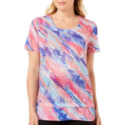 Coral Bay Womens Tiered Tie Dye Top