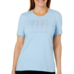 Coral Bay Womens Jeweled Nautical Grid Top