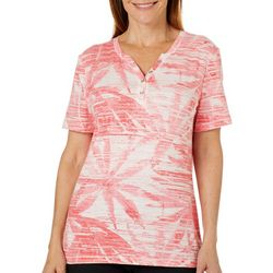 Coral Bay Womens Faded Palm Print Henley Top