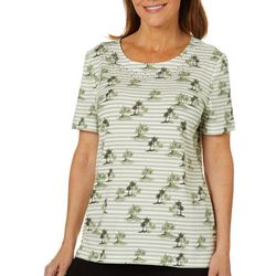 Coral Bay Womens Striped Island Print Jewel Neck Top