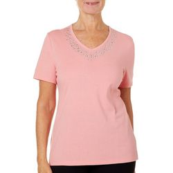 Coral Bay Womens Jeweled V-Neck T-Shirt
