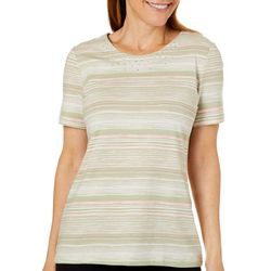 Coral Bay Womens Embellished Scratch Striped Top