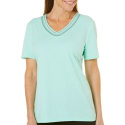 Coral Bay Womens Embroidered V-Neck Top