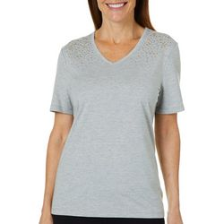 Coral Bay Womens Heathered Embellished T-Shirt