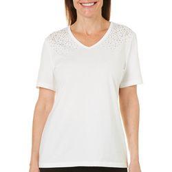 Coral Bay Womens Embellished V-Neck T-Shirt