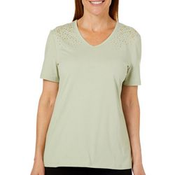 Coral Bay Womens Embellished V-Neck T-Shirt