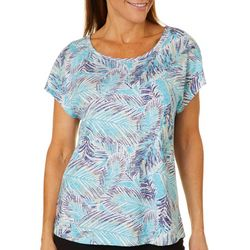 Coral Bay Womens Tropical Leaf Burnout Top