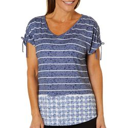 Coral Bay Womens Striped Seashell Tie Sleeve Top