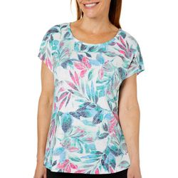 Coral Bay Womens Burnout Watercolor Leaves Top