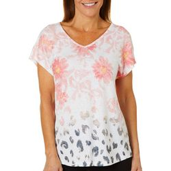 Coral Bay Womens Floral Animal Print Burnout Top